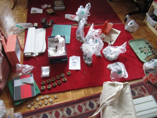 Here I am collating components in the front room.